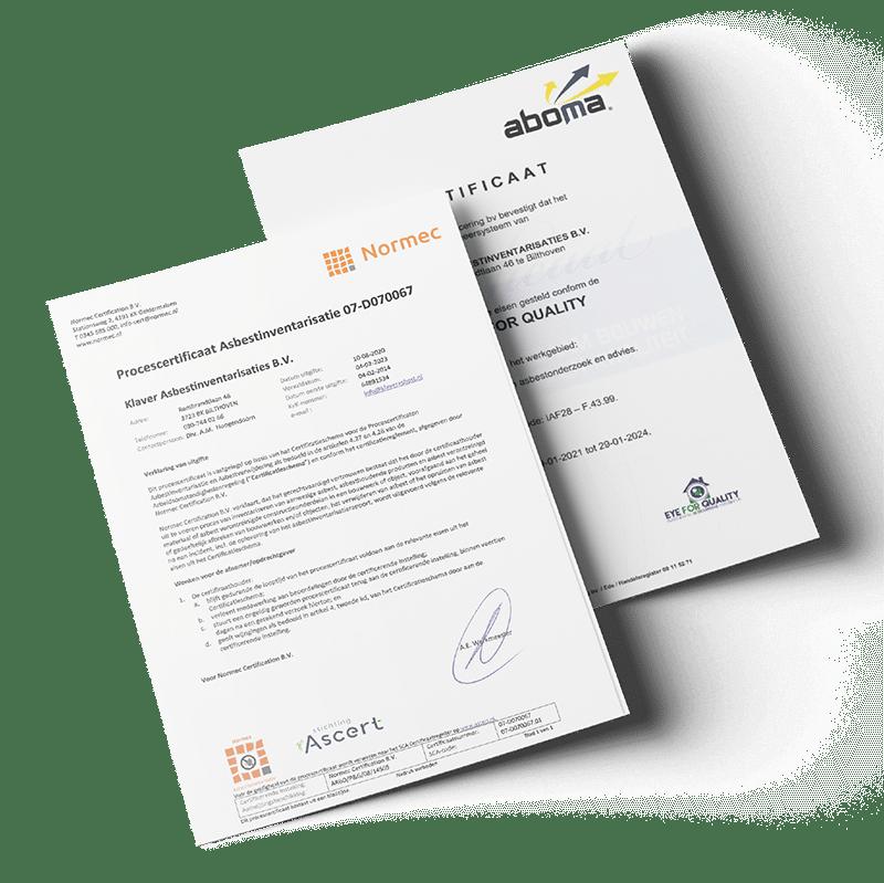 certificaten Procescertificaat Asbestinventarisatie Eye For Quality